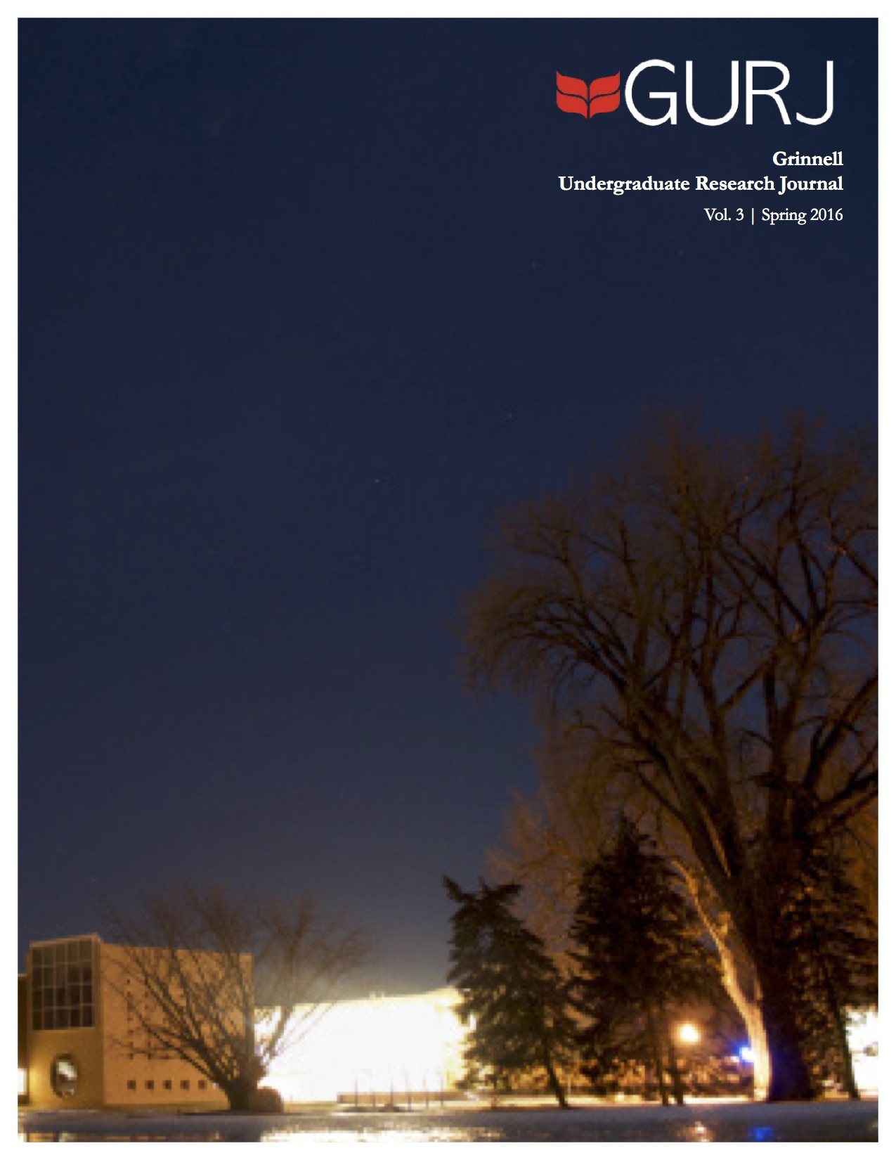 Cover of the Grinnell Undergraduate Research Journal. Pictured: view of campus at night.